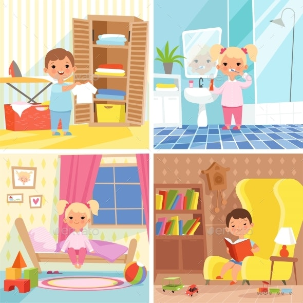 Daily Routine Various Situations of Time in Day - People Characters
