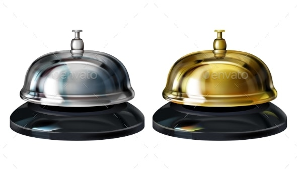 Service Bells Realistic Vector Illustration - Man-made Objects Objects
