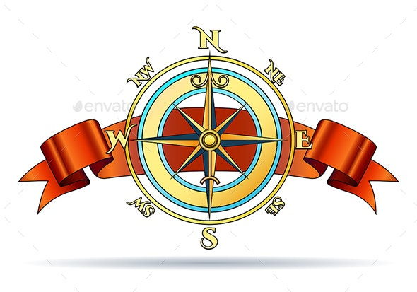 Compass and Ribbon - Decorative Symbols Decorative
