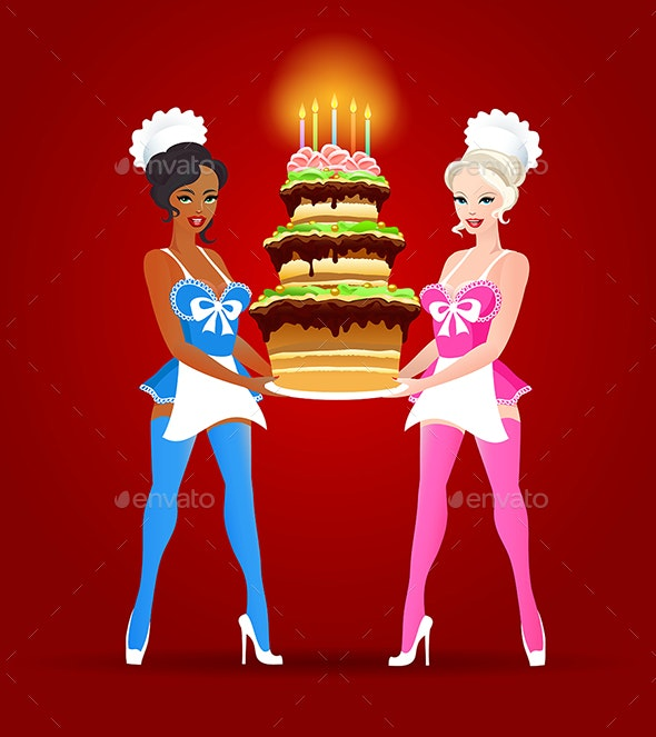 Two Girls with Birthday Cake - Birthdays Seasons/Holidays