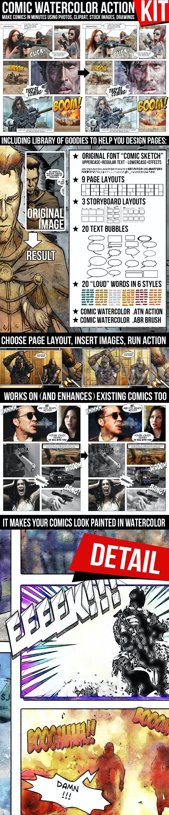 Comic Watercolor Action Kit - Photo Effects Actions