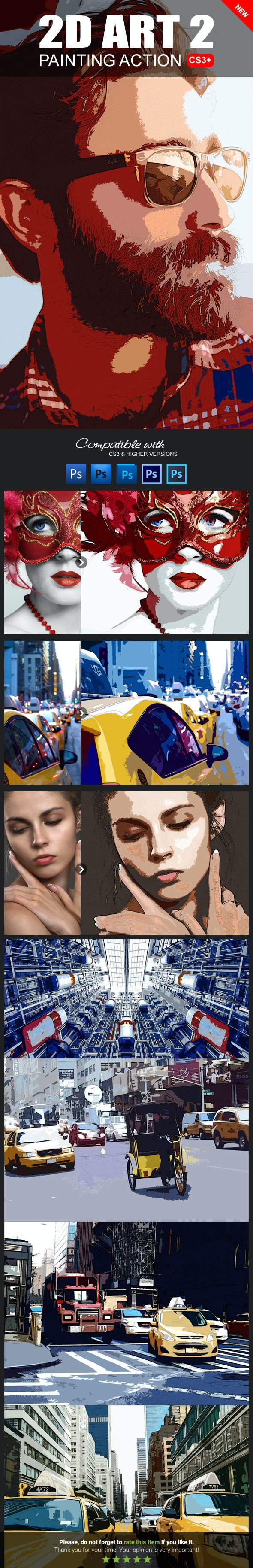 2D Art 2 Photoshop Action - Photo Effects Actions