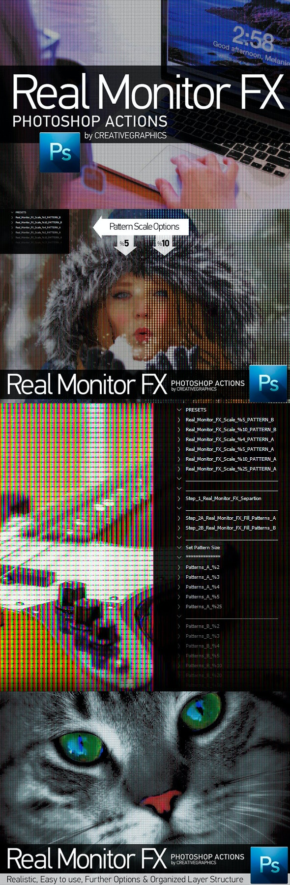 Real Monitor FX Photoshop Actions - Photo Effects Actions