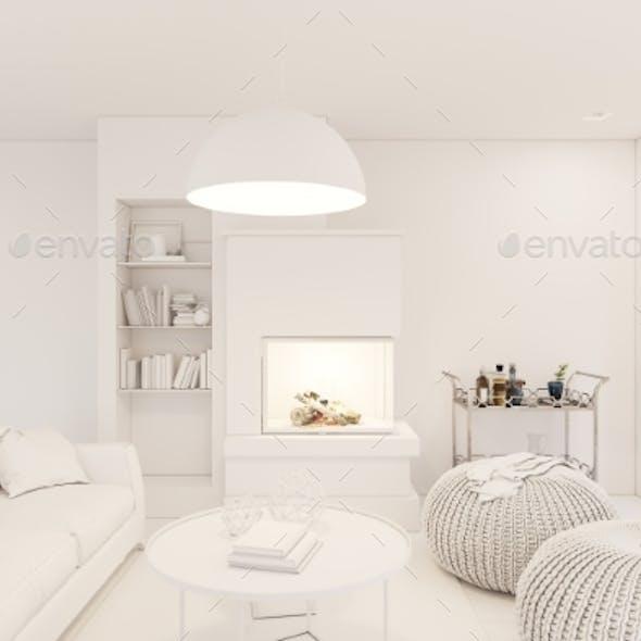 3D Render Modern Living Room Interior Design
