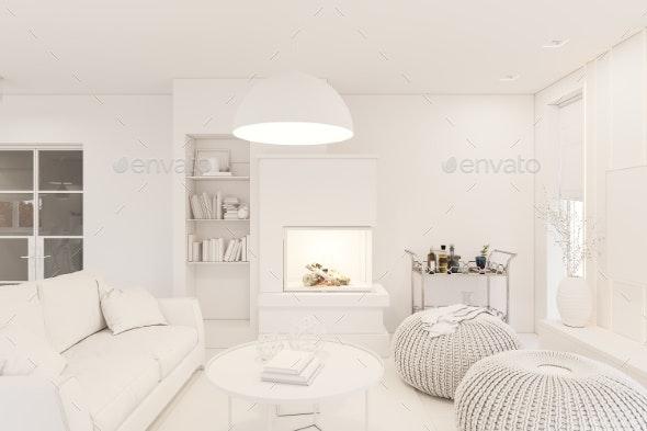 3D Render Modern Living Room Interior Design - 3D Backgrounds