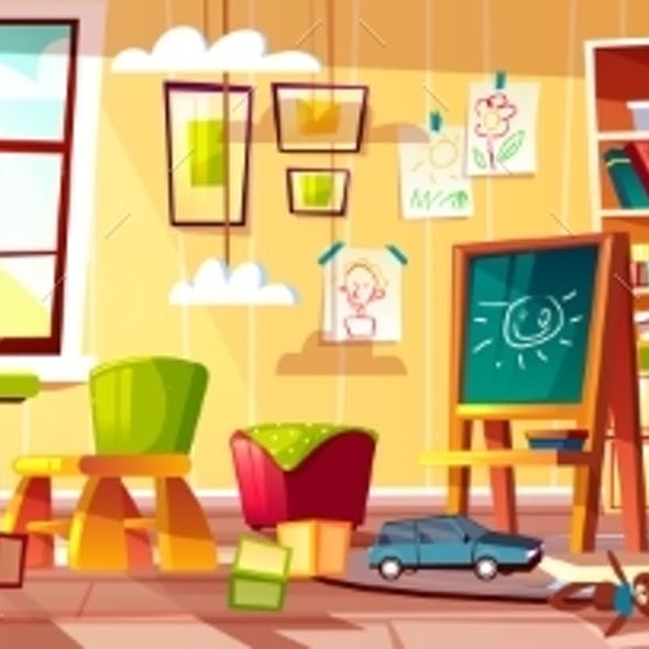 Vector Cartoon Kindergarten for Children