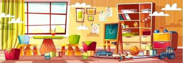 Vector Cartoon Kindergarten for Children - Backgrounds Decorative