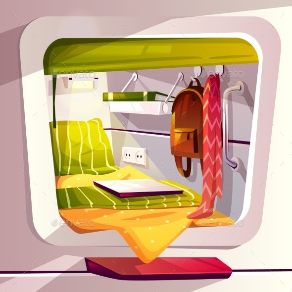 Capsule Hotel or Pod Hostel Vector Illustration - Man-made Objects Objects