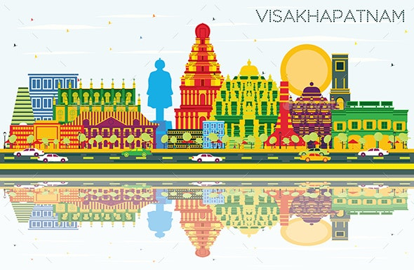 Visakhapatnam India City Skyline with Color Buildings - Buildings Objects
