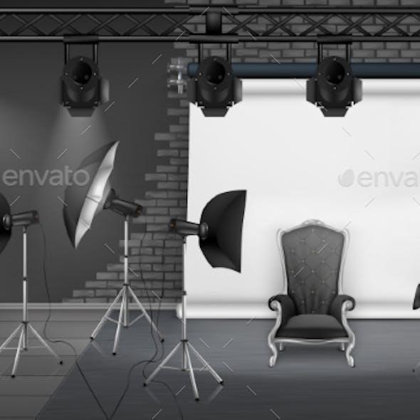 Vector Photo Studio Interior with Empty Armchair