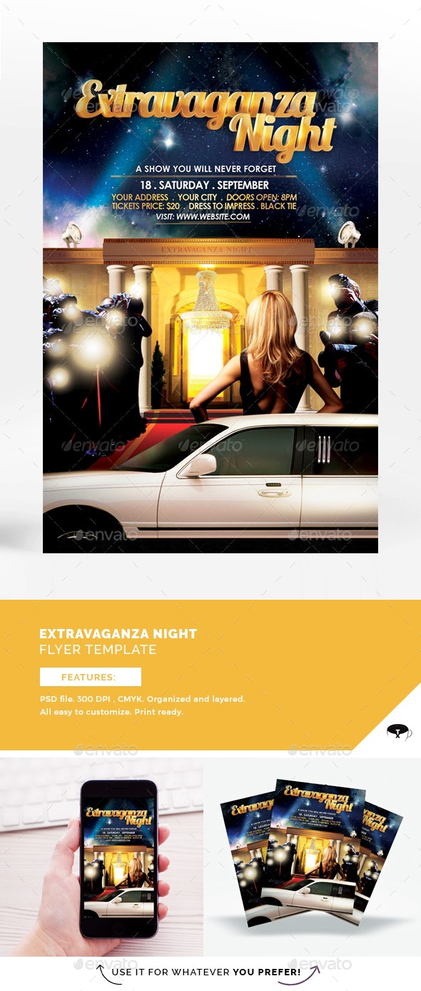 Extravaganza Night Flyer Template - Clubs & Parties Events
