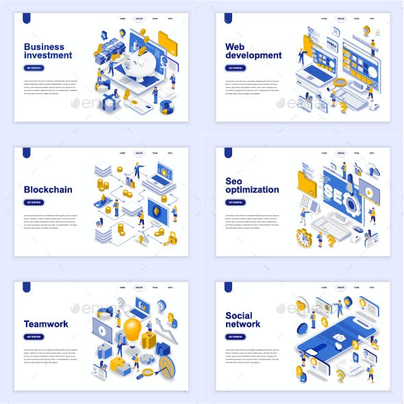 Flat Design Isometric Concepts