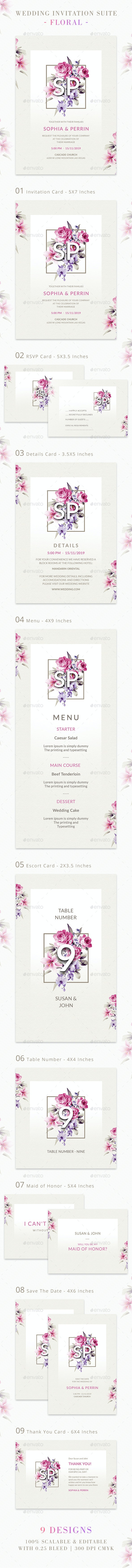 Wedding Invitation Suite - Floral - Weddings Cards & Invites