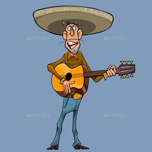 Cartoon Singer in a Sombrero Plays the Guitar - People Characters