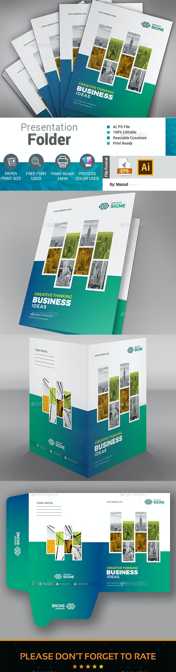 Business Presentation Folder - Stationery Print Templates