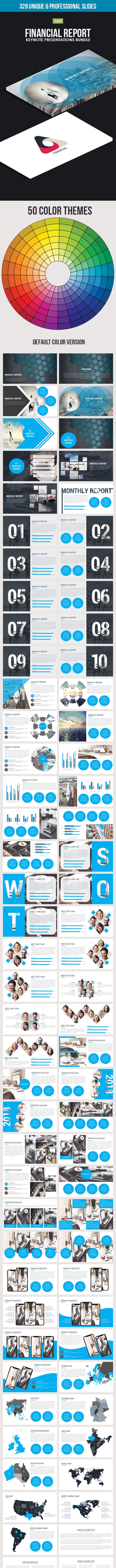 Financial Report Keynote Presentations Bundle - Business Keynote Templates