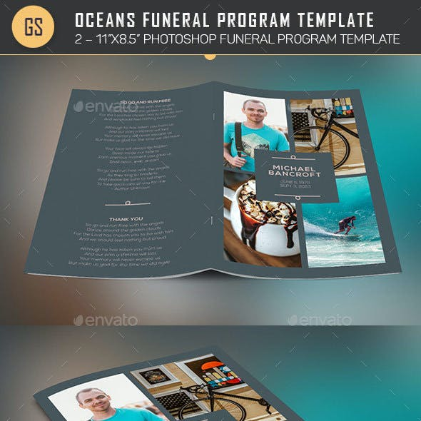 Oceans Funeral Program Template - 4 Pages