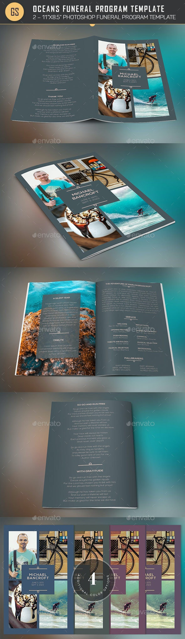 Oceans Funeral Program Template - 4 Pages - Church Flyers