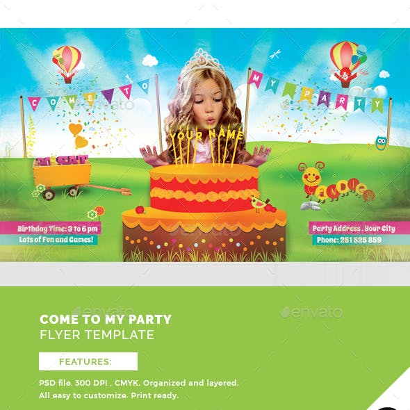 Come To My Party Flyer Template