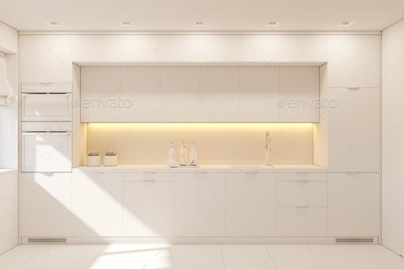 3d Illustration Kitchen Interior Design in White - Architecture 3D Renders