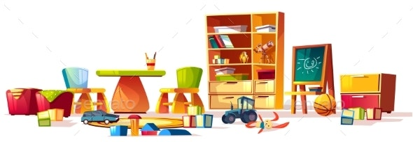 Vector Kindergarten Toys Set - Man-made Objects Objects