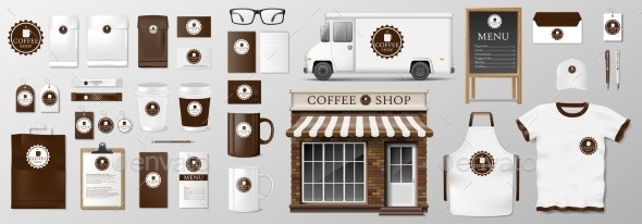 Mock-Up Set for Coffee Shop Cafe or Restaurant - Food Objects