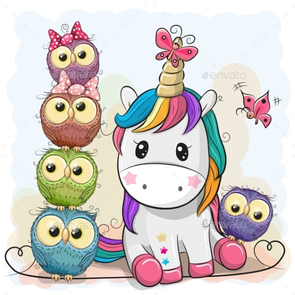 Cartoon Unicorn and Owls - Animals Characters