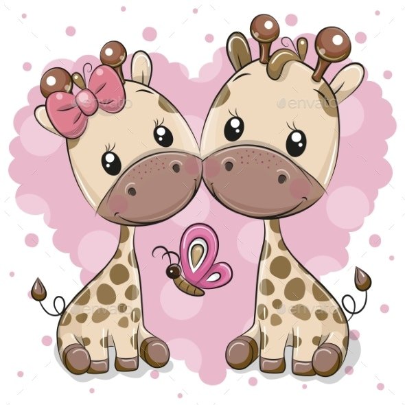 Two Cartoon Giraffes on a Heart Background - Miscellaneous Vectors