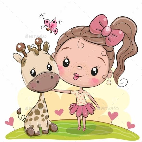 Cartoon Girl with Giraffe - Miscellaneous Vectors