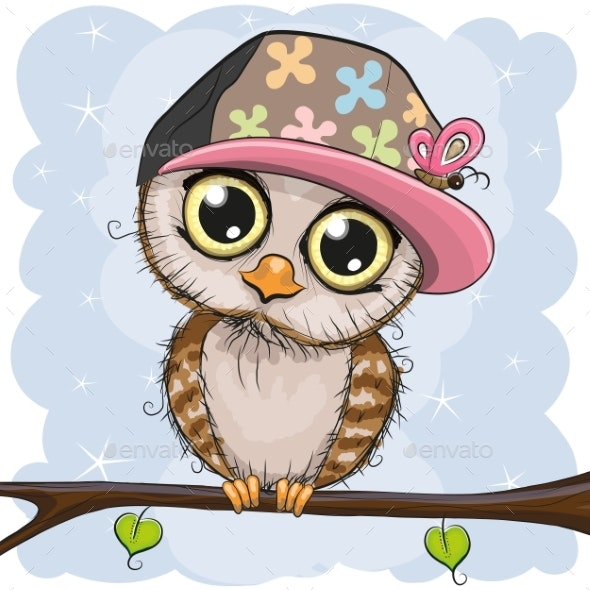 Owl in a Cap Is Sitting on a Branch - Animals Characters