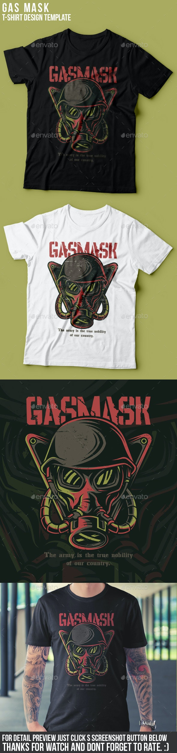 Gas Mask T-Shirt Design - Grunge Designs