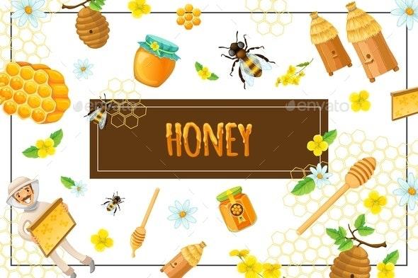 Cartoon Organic Honey Concept - Food Objects