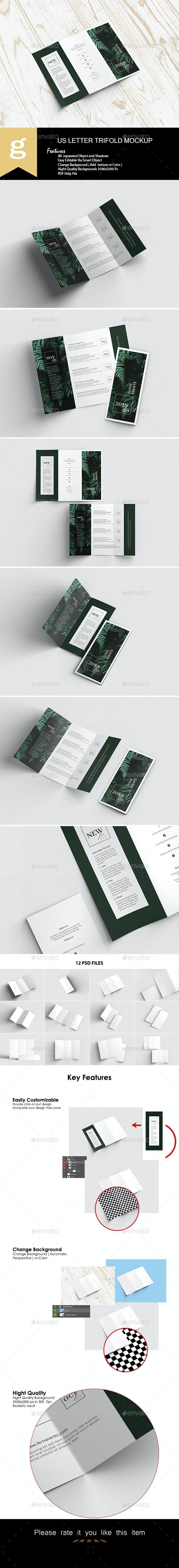 US Letter Trifold Mock-Ups - Brochures Print