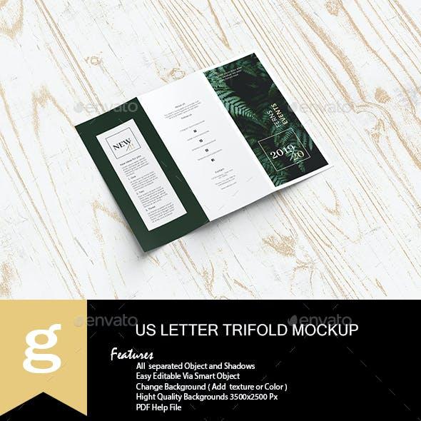 US Letter Trifold Mock-Ups