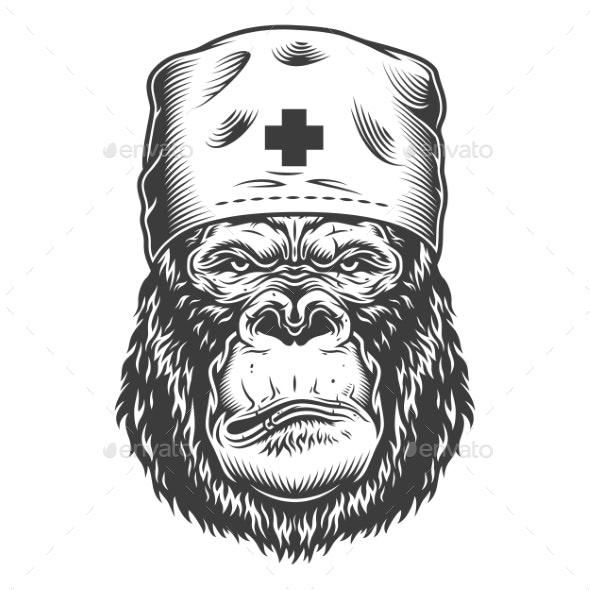 Serious Gorilla in Monochrome Style - Health/Medicine Conceptual