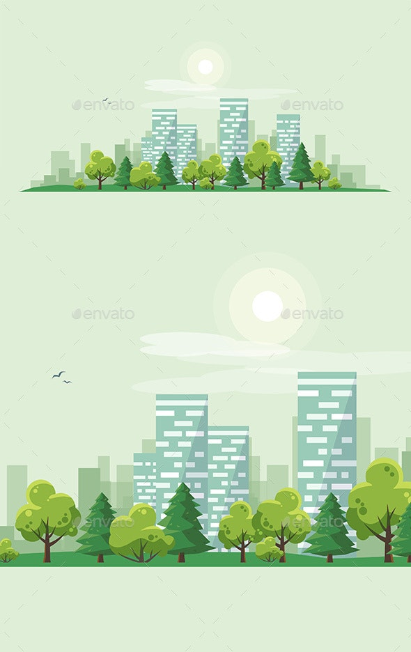 Urban City Landscape Street Road with Trees and Skyline Background - Landscapes Nature