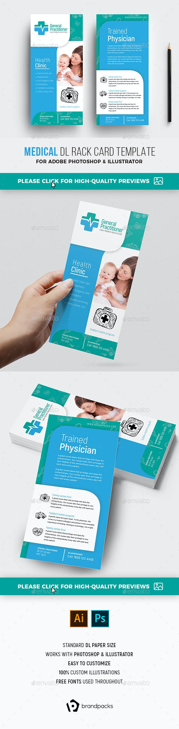 Medical DL Rack Card Template - Corporate Flyers