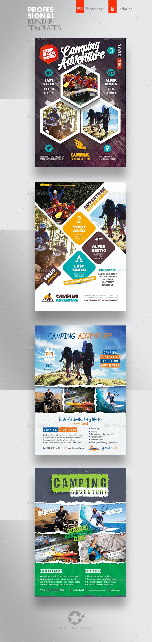 Camping Adventure Flyer Bundle Templates - Corporate Flyers