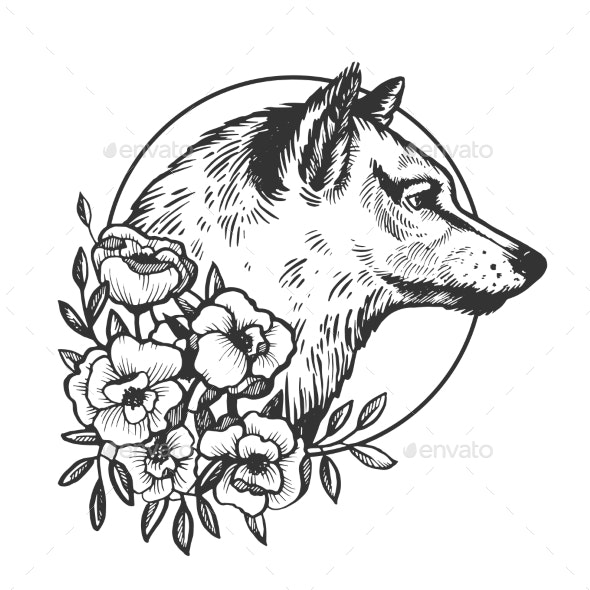 Wolf Head Animal Engraving Vector Illustration - Animals Characters