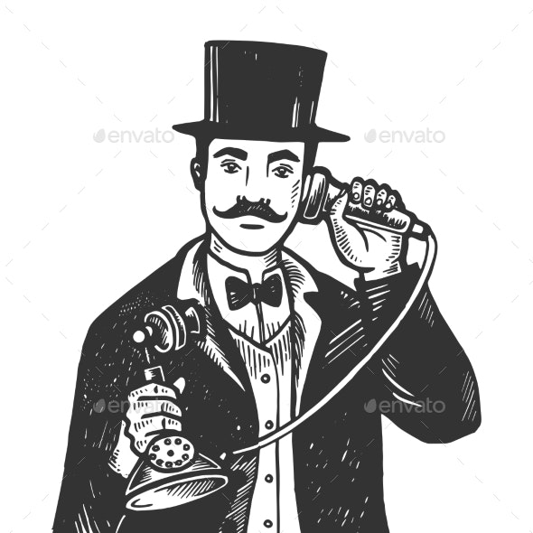 Gentleman with Phone Engraving Vector Illustration - People Characters