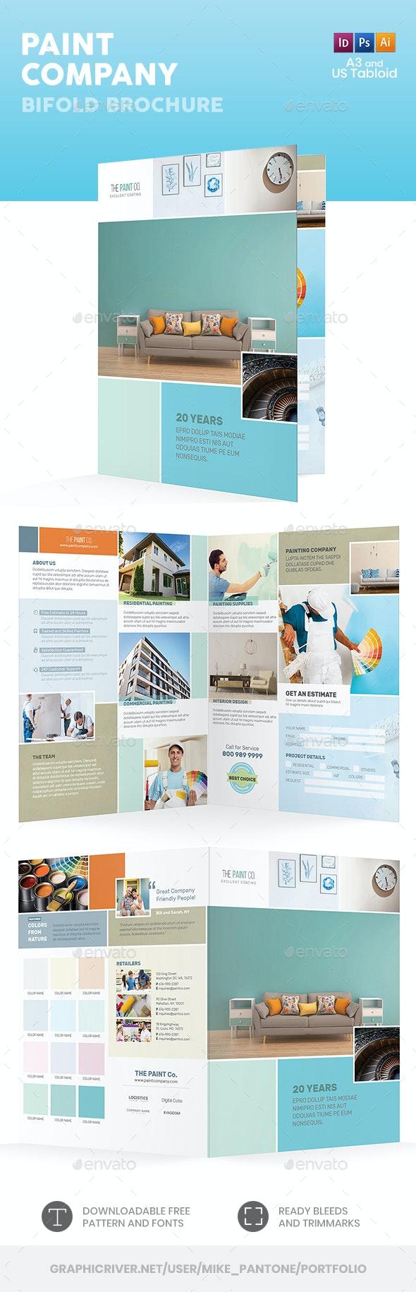 Paint Company Bifold / Halffold Brochure - Informational Brochures