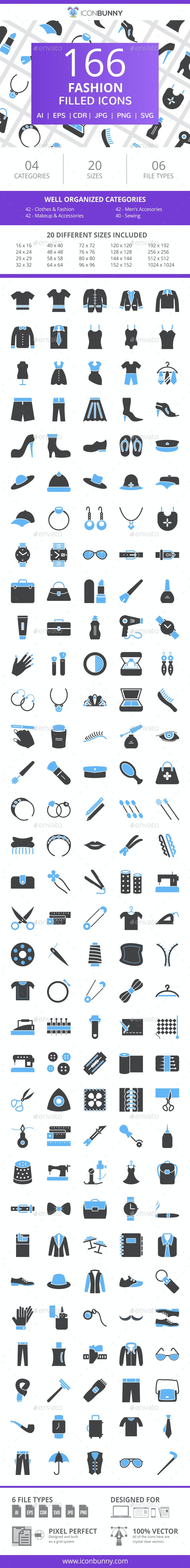 200 Fashion Filled Blue & Black Icons - Icons