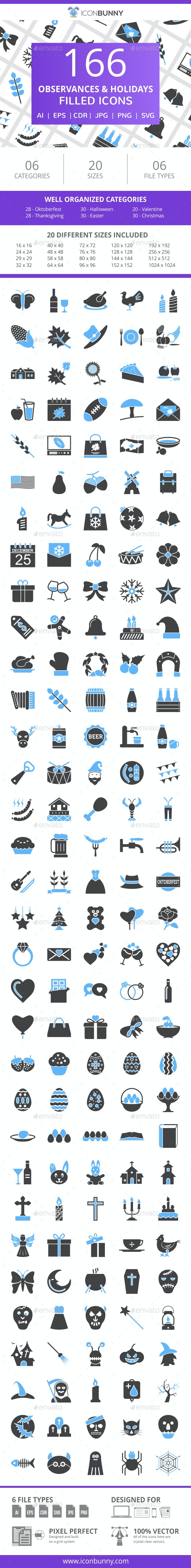 230 Observances & Holiday Filled Blue & Black Icons - Icons
