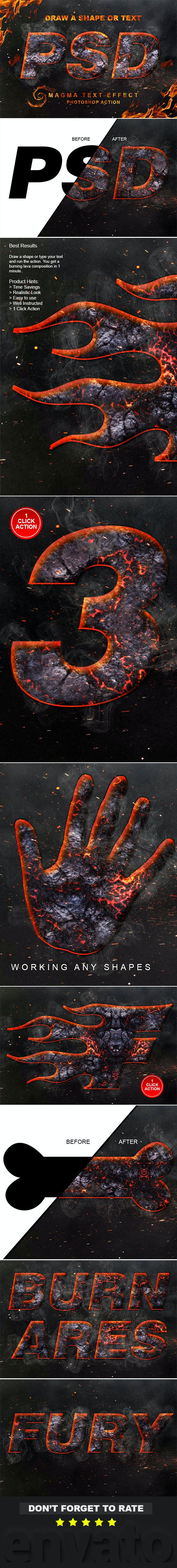 Magma Text Effect Photoshop Action - Text Effects Actions