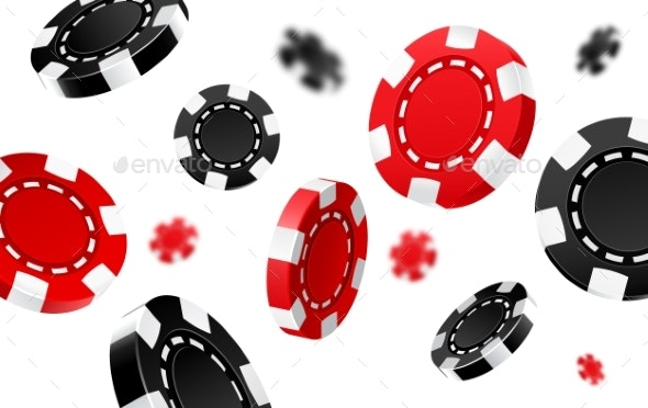 Flying Red and Black Casino Chips - Backgrounds Decorative