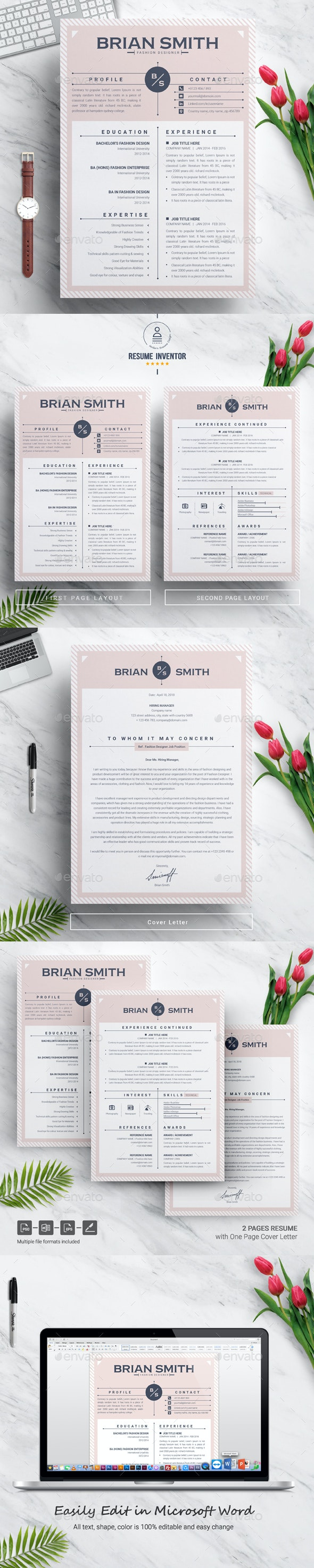 Resume Template | Modern & Creative Professional Resume Template for Word - Resumes Stationery