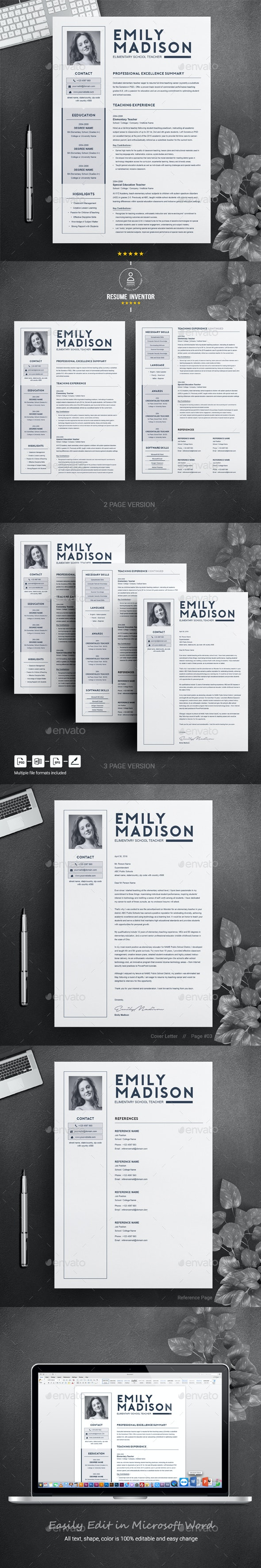 Teacher Resume Template for MS Word | Cover Letter - Resumes Stationery