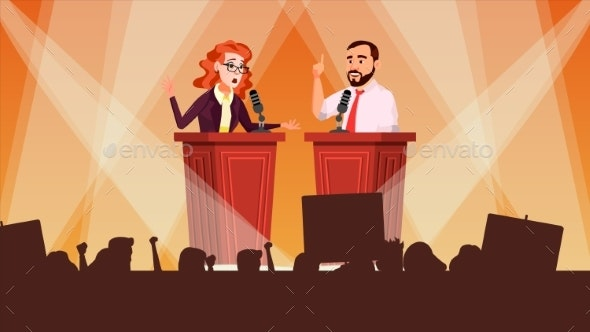 Political Meeting Vector Debates Concept - Miscellaneous Conceptual