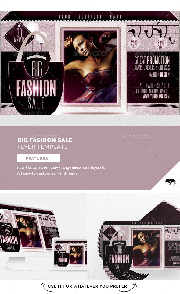 Big Fashion Sale Flyer Template - Clubs & Parties Events