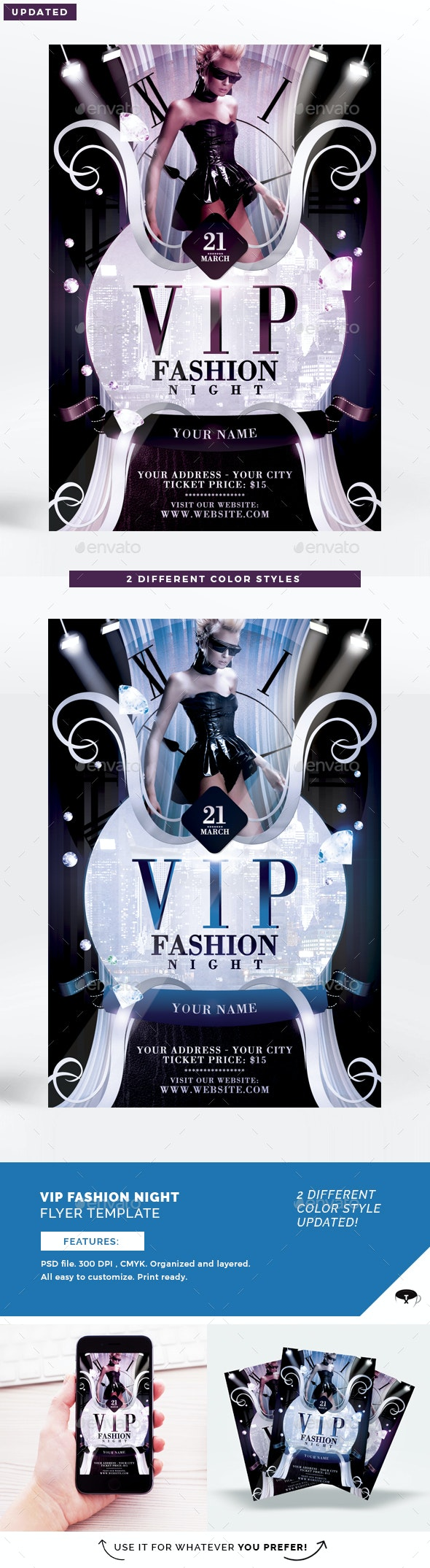 Vip Fashion Night Flyer Template - Clubs & Parties Events